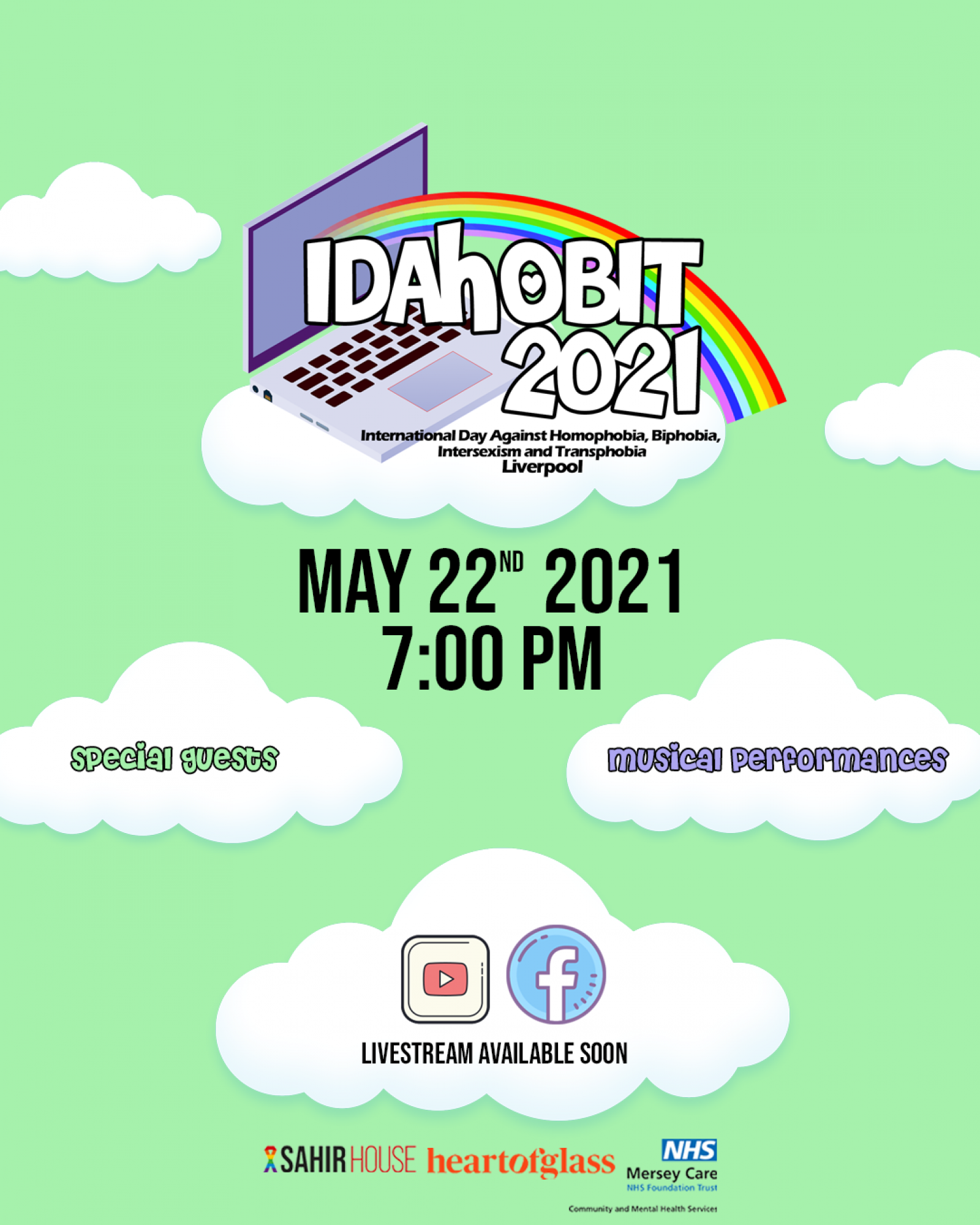 A poster created to promote the IDAHoBIT event. White clouds sit on a light green background. Information about the event are contained in the clouds. At the top, the IDAHoBIT logo for the event sits on a large cloud. The logo comprises of a rainbow leaping out from a computer and contains the text 'IDAHoBIT 2021'