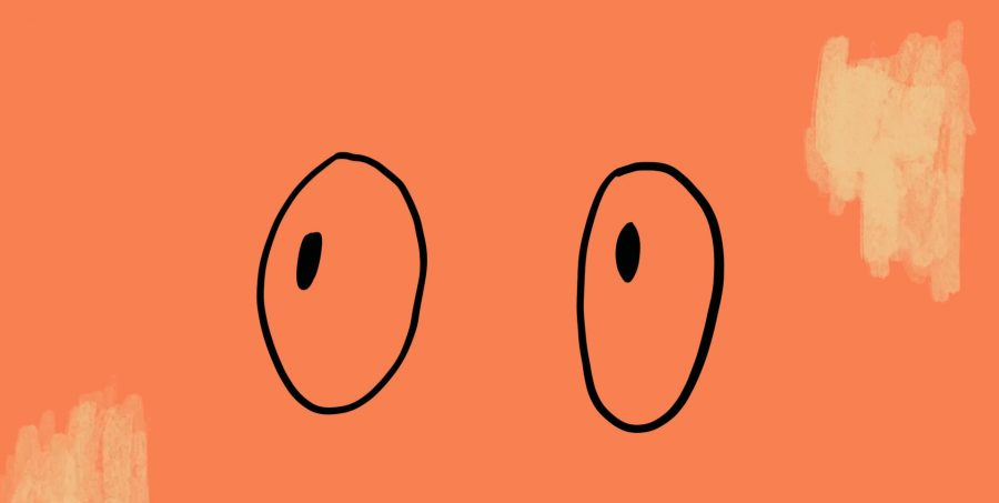 On a peach background a black line drawing of large pair of eyes look up to the top, left corner.