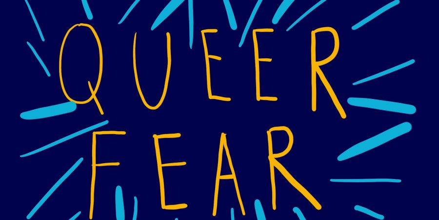 The words 'QUEER FEAR' in yellow capital letters on a dark blue background with light blue lines surrounding the text.