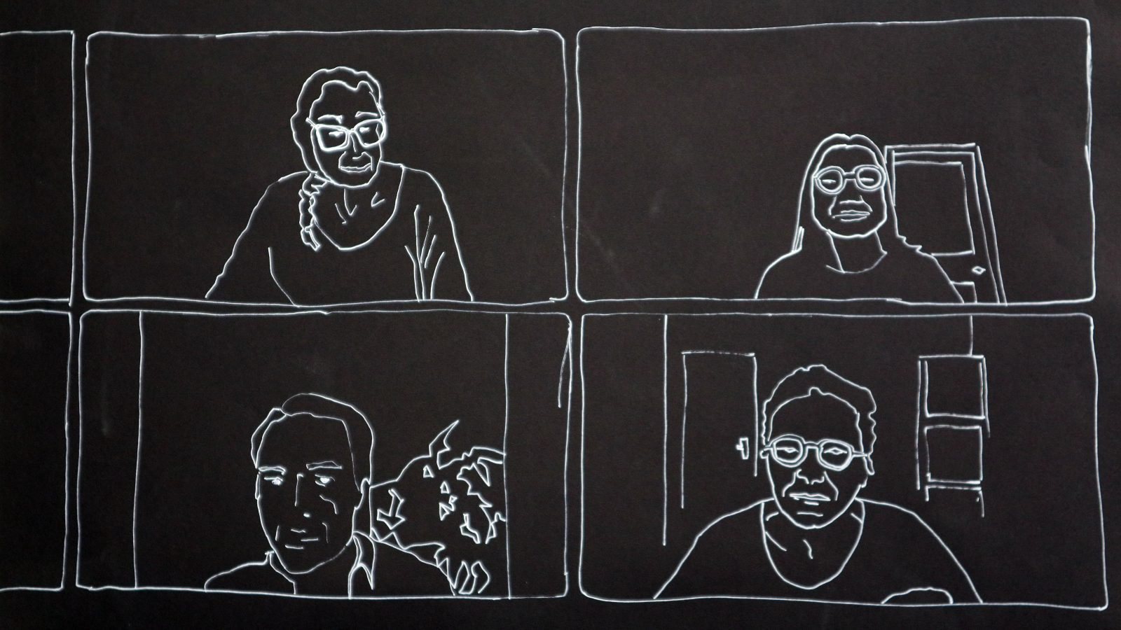 4 white line drawings on a black background of people's head and shoulder in a rectangle.
