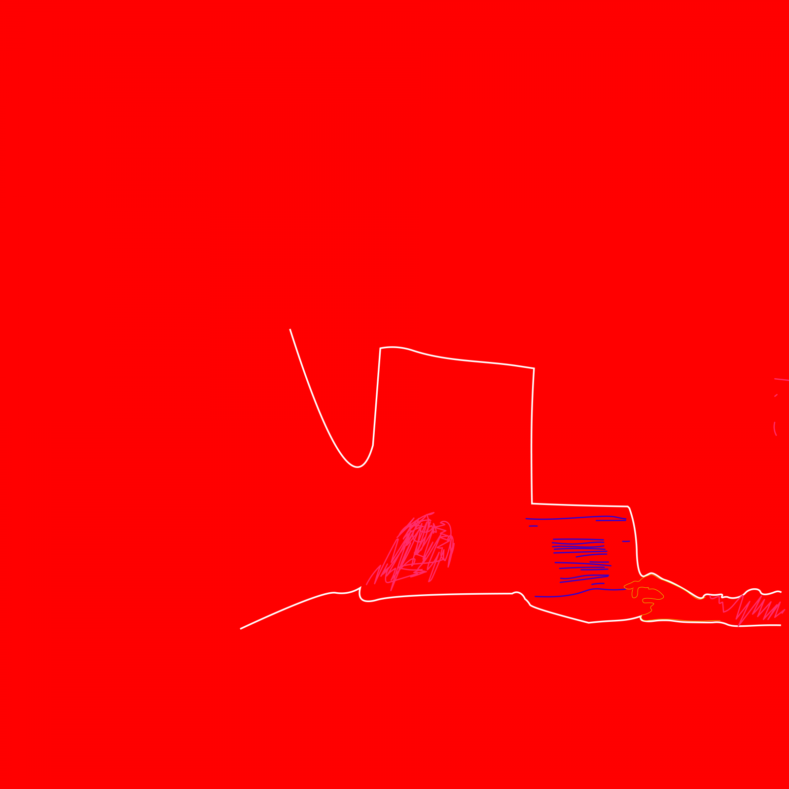 A red background with white line drawings.
