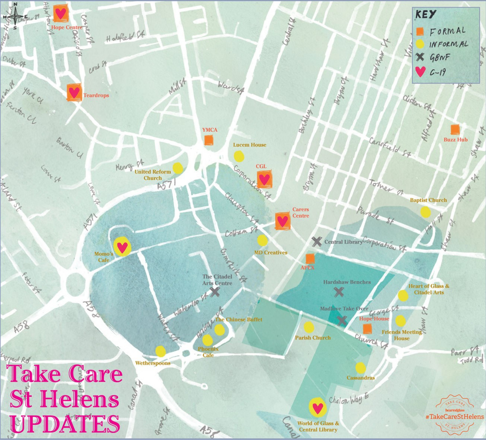 A watercolour painted map of St Helens with the words 'Take Care St Helens Updates' written in pink lettering on the bottom left corner.
