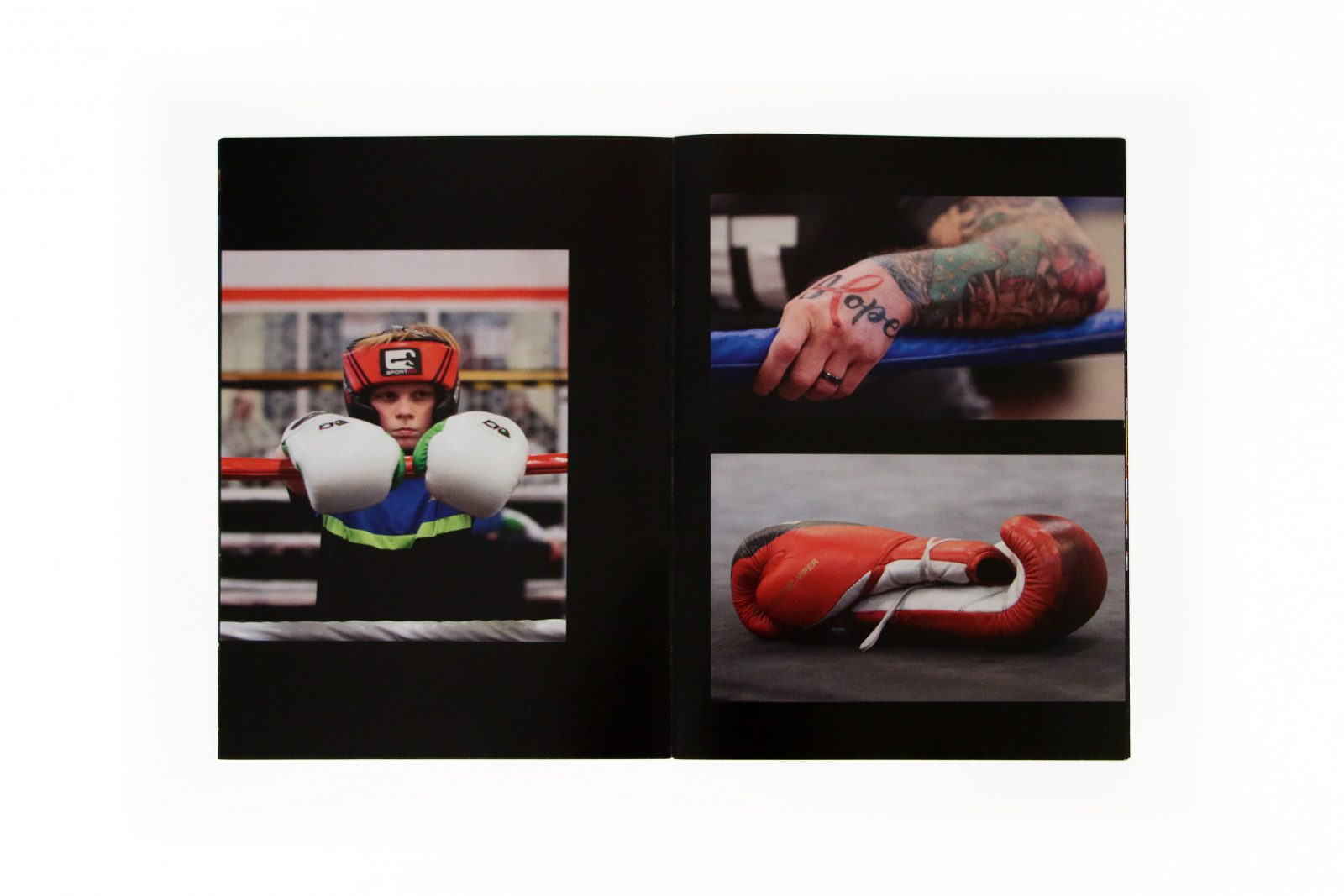 A collection of images, a young woman in boxing kit, a tattooed arm and a boxing glove.