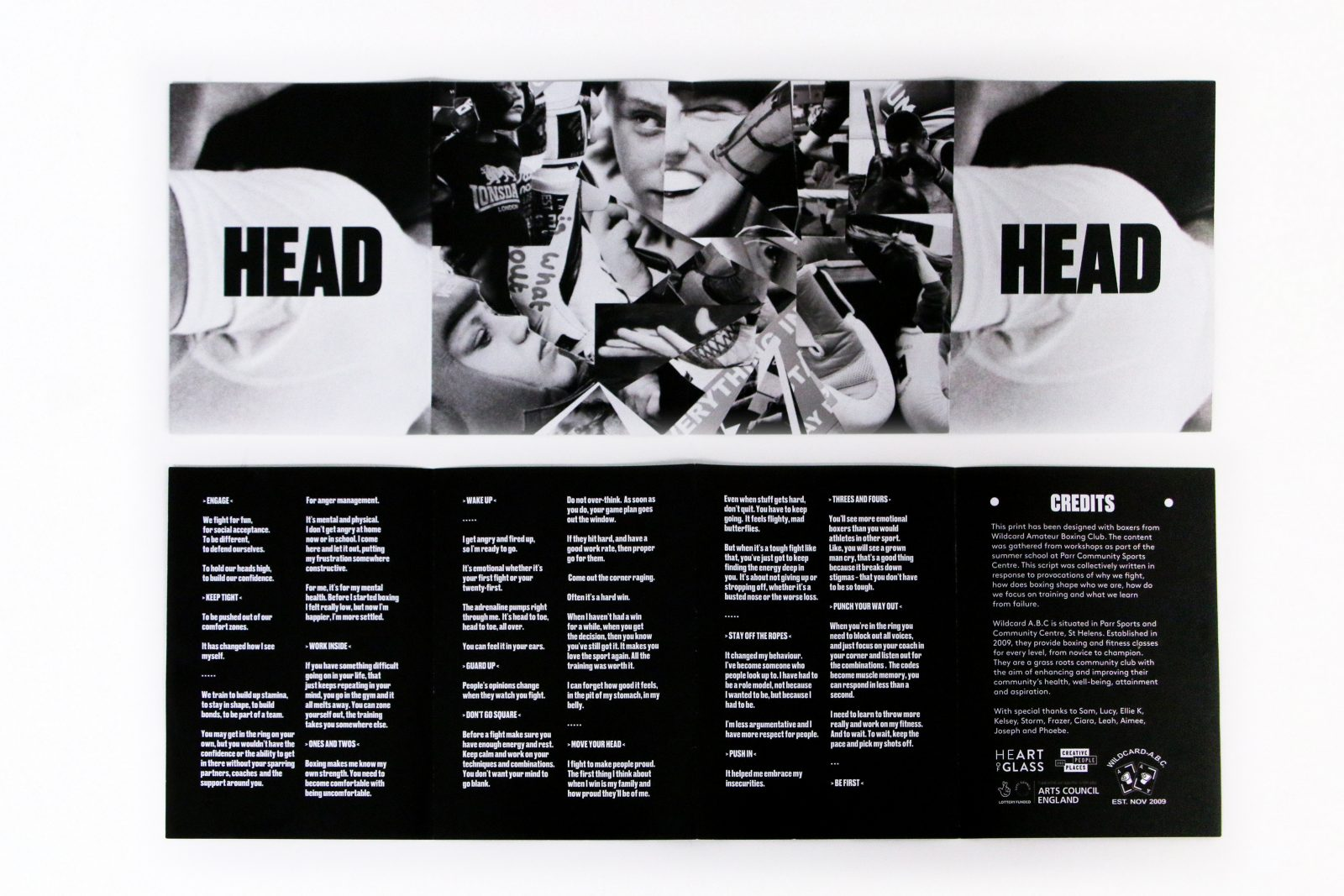 A black and white magazine spread image including a collage of faces and a large amount of text.
