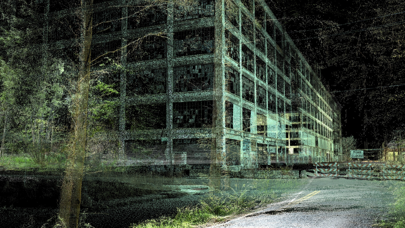 A graphically designed image of a large building next to a road. The image is black and green and looks like night time.